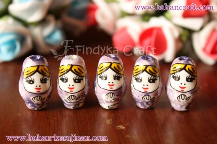 findyka craft batu keramik boneka ungu